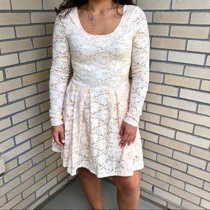 Free People cream peach lace dress